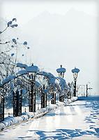 Austria, Tyrol, Kaiserwinkl, near Koessen: winter scenery at Hotel Peternhof at the German-Austrian border | Oesterreich, Tirol, Kaiserwinkl, bei Koessen: Winterimpression beim Hotel Peternhof an der deutsch-oesterreichischen Grenze