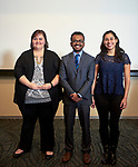 The winners of the 3MT competition from left to right: Cassandra Thompson, Sharif Wahab and Silvana Duran Ortiz.