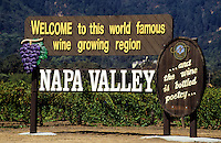 Welcome sign in  Napa Valley wine growing region, California, USA