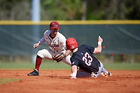 Saint Joseph's Hawks second baseman Chris Skermo (9) tags Ross Messina (23) out during a game against the Ball State Cardinals on March 9, 2019 at North Charlotte Regional Park in Port Charlotte, Florida.  Ball State defeated Saint Joseph's 7-5.  (Mike Janes/Four Seam Images)