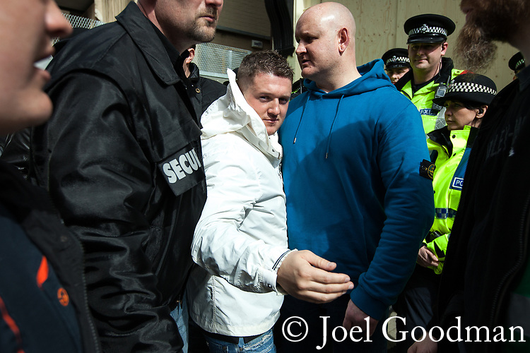 © Joel Goodman - 07973 332324 . 02/04/2011 . Blackburn , UK . EDL leader TOMMY ROBINSON ( Stephen Yaxley-Lennon ) at the demonstration . The English Defence League ( EDL ) hold a demonstration in Blackburn . Photo credit : Joel Goodman