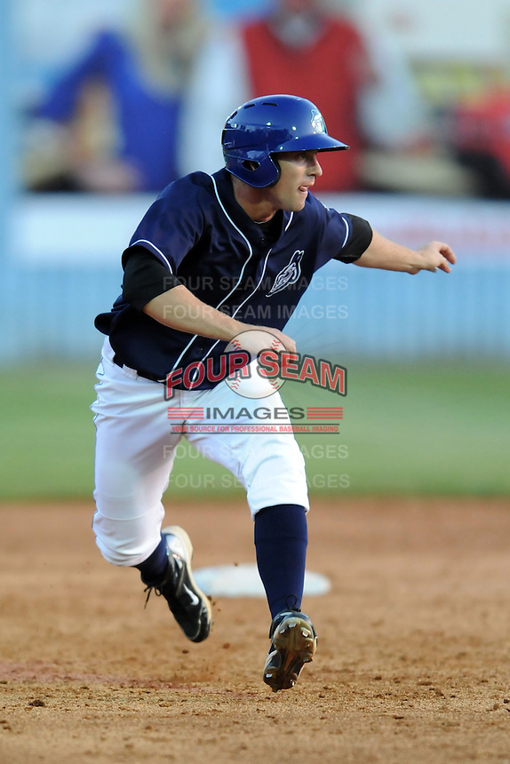 Asheville Tourists left fielder David Kandilas #18 leads off second during a game between the Delmarva Shorebirds and the Asheville Tourists at McCormick Field, Asheville, North Carolina April 7, 2012. The Tourists won game one of a double header  8-4  (Tony Farlow/Four Seam Images)..