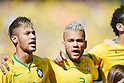 Neymar, Daniel Alves (BRA), JUNE 28, 2014 - Football / Soccer : Neymar and Daniel Alves of brazil sing the national anthem before the FIFA World Cup Brazil 2014 round of 16 match between Brazil and Chile at Estadio Mineirao in Belo Horizonte, Brazil. (Photo by FAR EAST PRESS/AFLO)