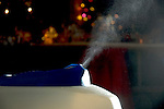 Humidifier sending spray of moisture