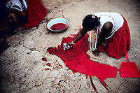 A woman cleans up the blood of a newly slaughtered goat. She is graduating from a Sangoma ceremony in Soweto, South Africa. Many black South Africans consult a Sangoma, or traditional healer, who communicates with the ancestral spirits for guidance on treating patients and often prescribes herbal remedies. (Photo by: Per-Anders Pettersson)