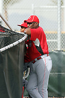 Dusty Baker, manager with son Darren. Cincinnati Reds spring training workouts at the Reds new complex, Goodyear, AZ - 02/19/2010.Photo by:  Bill Mitchell/Four Seam Images.
