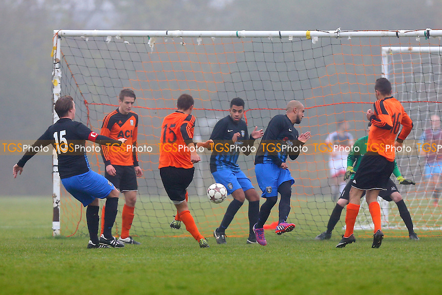 Krystal score their first goal during FC Krystal (orange) vs FC Bartlett, Hackney & Leyton Sunday League Football at Hackney Marshes on 30th October 2016
