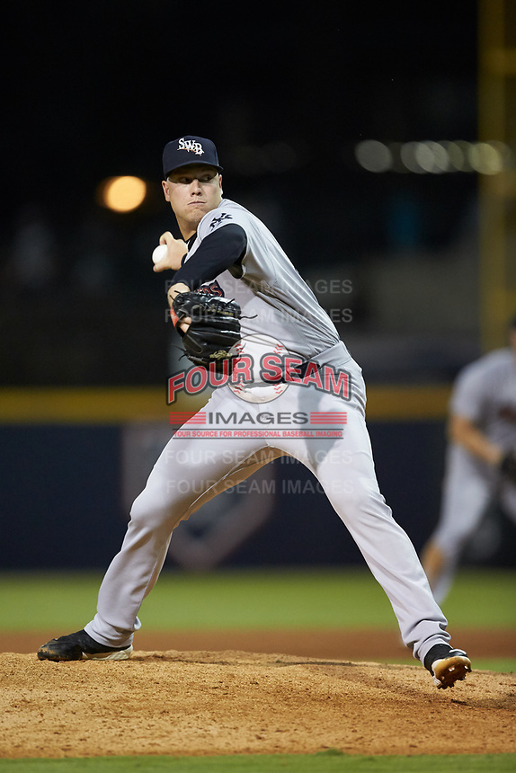 Scranton/Wilkes-Barre RailRiders relief pitcher Kaleb Ort (37) in action against the Gwinnett Stripers at BB&T BallPark on August 16, 2019 in Lawrenceville, Georgia. The Stripers defeated the RailRiders 5-2. (Brian Westerholt/Four Seam Images)