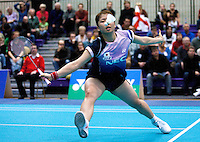 17 OCT 2009 - LOUGHBOROUGH, GBR - Fujii Mizuki returns during her womens doubles match with Kakiiwa Reika at the Team England v Japan International (PHOTO (C) NIGEL FARROW)