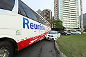 General view, <br /> AUGUST 16, 2016 : <br /> Traffic accident is happened <br /> at Copacabana <br /> during the Rio 2016 Olympic Games in Rio de Janeiro, Brazil. <br /> This media bus was in the middle of the Fort Copacabana, Marathon Swimming venue. <br /> (Photo by Yohei Osada/AFLO SPORT)