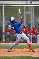 Toronto Blue Jays Otto Lopez (11) bats during an exhibition game against the Canada Junior National Team on March 8, 2020 at Baseball City in St. Petersburg, Florida.  (Mike Janes/Four Seam Images)