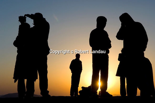 Visitors watching the sunrise in Nemrut Mountain National Park, Turkey