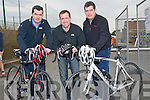 BIKES: Making sure their bikes are ready for the Triathlon on Saturday at Banna Beach, l-r: Eoin McGillycuddy(killorglin),Pater Barry (Tralee) and Rory MC Gillcuddy (Killorglin)...