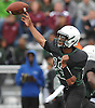 Aaron Ruthman #12, Elmont quarterback, throws a pass for a touchdown during a Nassau County Conference II varsity football game against Garden City at Elmont High School on Saturday, Oct. 1, 2016. He threw for three touchdowns in defeat as Garden City won 49-20.