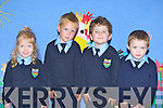 Muireann Spillane, Jake Downing, Eoin O'Sullivan and Andrew McGillicuddy who started school in Tiernaboul NS, Spa, Killarney on Monday..