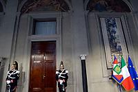 Roma, 12 Aprile 2018<br /> Corazzieri sulla porta.<br /> Secondo giro di Consultazioni per la formazione del Governo