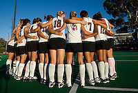 STANFORD, CA - September 3: Team huddle before a field hockey match against UC Davis, September 3, 2010 in Stanford, California. Stanford won 3-1.
