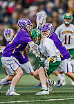 6 April 2019:  University of Vermont Catamount Attacker David Closterman, a Freshman from Doylestown, PA, is sandwiched by University at Albany Great Danes Midfielder Jack Burgmaster (left), a Senior from Auburn, NY, and Defender Erik Dluhy (right), a Senior from Branchburg, NJ during a game at Virtue Field in Burlington, Vermont. The Cats rallied to defeat the Danes 10-9 in America East divisional play. Mandatory Credit: Ed Wolfstein Photo *** RAW (NEF) Image File Available ***