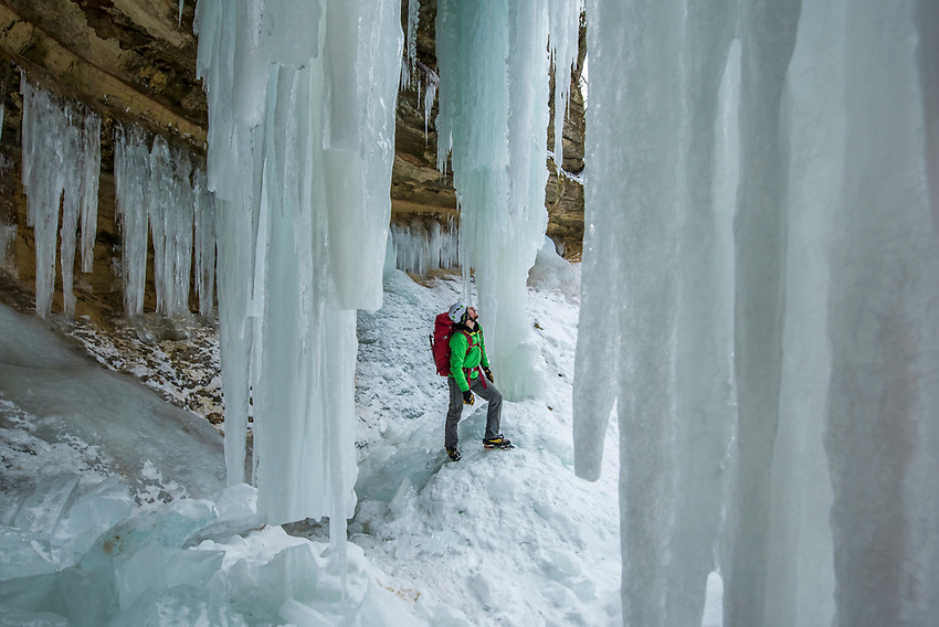 Ice climbing at the Ampitheater ice formation at Pictured Rocks National Lakeshore near Munising, Michigan.