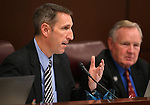 Nevada Sen. Scott Hammond, R-Las Vegas, chairs a Senate Transportation Committee hearing at the Legislative Building in Carson City, Nev., on Tuesday, Feb. 3, 2015. Sen. Don Gustavson, R-Sparks is at right.<br /> Photo by Cathleen Allison