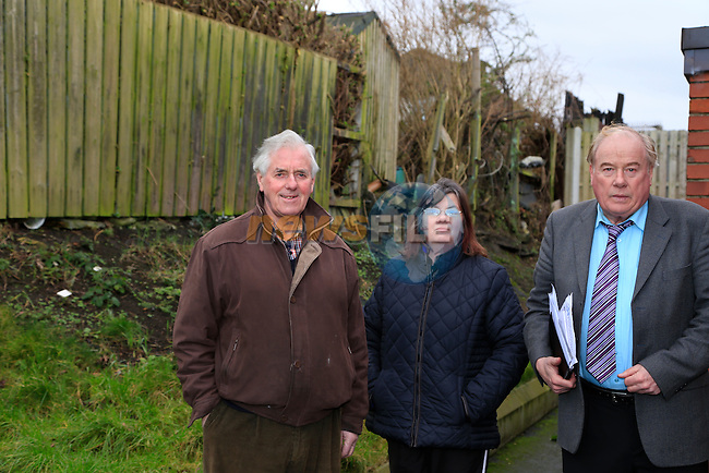 Hugh Nolan Aida Nolan and Frank Godfrey Residents of Scarlet Street looking for area at back of houses to be sealed up by Council due to robberies.<br /> Picture: Fran Caffrey www.newsfile.ie