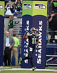 Seattle Seahawks' wide receiver Percy Harvin is introduced before they take to the field against the Chicago Bears in a pre-season game at CenturyLink Field in Seattle, Washington on August 12, 2014.  Seattle beat Chicago 34-6. © 2014  Jim Bryant Photo. ALL RIGHTS RESERVED.