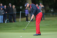 Lee Slattery (ENG) in putting action during the Final Round of the British Masters 2015 supported by SkySports played on the Marquess Course at Woburn Golf Club, Little Brickhill, Milton Keynes, England.  11/10/2015. Picture: Golffile | David Lloyd<br /> <br /> All photos usage must carry mandatory copyright credit (© Golffile | David Lloyd)