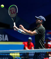 7th January 2020; RAC Arena, Perth, Western Australia; ATP Cup Australia, Perth, Day 5; Russia versus Norway; Viktor Durasovic of Norway plays a volley at the net against Karen Khachanov of Russia - Editorial Use