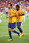 52e Trofeu Joan Gamper.<br /> FC Barcelona vs Chapecoense: 5-0.<br /> Sergio Busquets &amp; Samuel Umtiti.