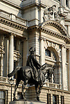 Statue of military commander on horseback against backdrop of grand Victorian architecture, Whitehall, London