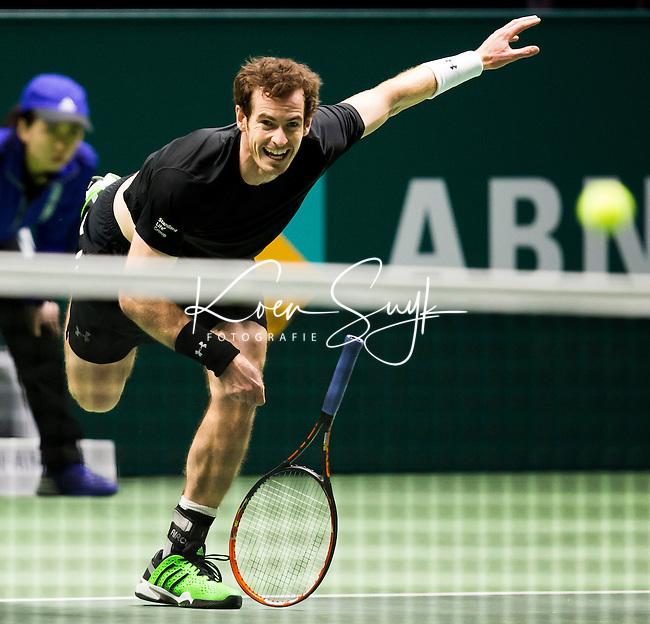 ROTTERDAM - De Brit Andy Murray tijdens de tweede ronde van het ABN AMRO WTT tegen de Canadees Vasel Posposilt . ANP KOEN SUYK