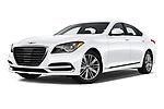 Stock pictures of low aggressive front three quarter view of a 2019 Genesis G80 RWD 4 Door Sedan