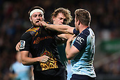 June 3rd 2017, FMG Stadium, Waikato, Hamilton, New Zealand; Super Rugby; Chiefs versus Waratahs;  Chiefs flanker Mitchell Brown and Waratahs winger Cam Clark tussle during the Super Rugby rugby match