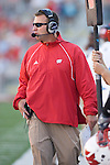 MADISON, WI - SEPTEMBER 1: Head coach Bret Bielema of the Wisconsin Badgers looks on during the game against the Washington State Cougars at Camp Randall Stadium on September 1, 2007 in Madison, Wisconsin. The Badgers beat the Cougars 42-21. (Photo by David Stluka)