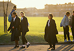 Secondary School 1990s UK. End of day students leave going home Greenford High School, Middlesex  London 1990