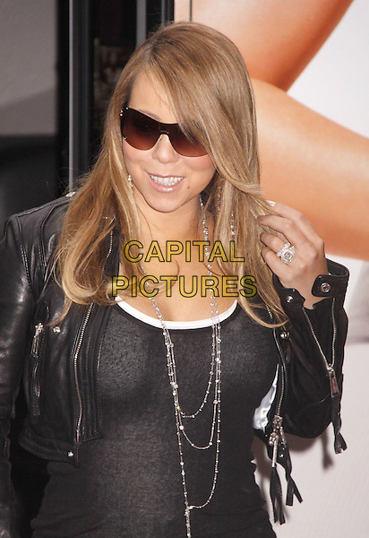 MARIAH CAREY.appears at a photocall to promote her new fragrance 'Forever' at Macy's Herald Square, New York, NY, USA,.September 29th, 2009..half length ring black leather jacket vest top silver necklaces sunglasses cropped hand .CAP/ADM/AC.©Alex Cole/AdMedia/Capital Pictures.