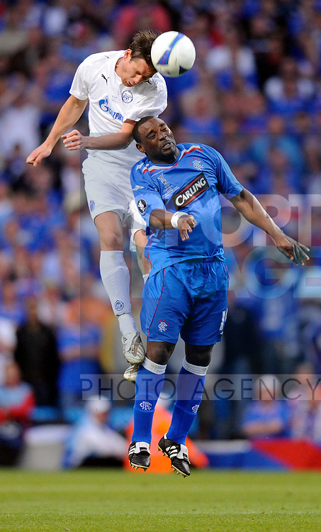 Ivica Krizanac of Zenit St Petersburg challenges Jean-Claude Darcheville of Rangers during the Europa League Final match at The Etihad Stadium, Manchester. Picture date 14th May 2008. Picture credit should read: Simon Bellis/Sportimage