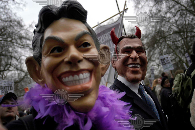 UK. London. 15th Feb 2003..Peace protesters march in central London to protest against the upcoming war against Iraq. An estimated one million marchers made it the largest demonstration in British history..©Andrew Testa/ Panos for Newsweek