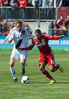 30 March 2013:Toronto FC midfielder Reggie Lambe #19 and Los Angeles Galaxy midfielder Michael Stephens #26 in action during an MLS game between the LA Galaxy and Toronto FC at BMO Field in Toronto, Ontario Canada..The game ended in a 2-2 draw..