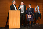 St Johnstone FC Scottish Cup Celebration Dinner at Perth Concert Hall...01.02.15<br /> Gordon Bannerman talks with Tommy Wright and Steve Brown<br /> Picture by Graeme Hart.<br /> Copyright Perthshire Picture Agency<br /> Tel: 01738 623350  Mobile: 07990 594431
