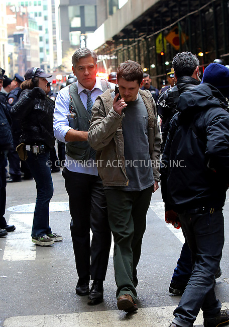 WWW.ACEPIXS.COM<br /> <br /> April 24 2015, New York City<br /> <br /> George Clooney and Jack O'Connell on the set of the new movie 'Money Monster' on April 24 2015 in New York City<br /> <br /> By Line: Philip Vaughan/ACE Pictures<br /> <br /> ACE Pictures, Inc.<br /> tel: 646 769 0430<br /> Email: info@acepixs.com<br /> www.acepixs.com