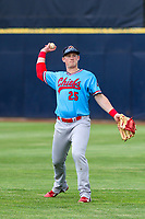 Peoria Chiefs outfielder Bryce Denton (25) warms up in the outfield prior to a Midwest League game against the Quad Cities River Bandits on May 27, 2018 at Modern Woodmen Park in Davenport, Iowa. Quad Cities defeated Peoria 8-3. (Brad Krause/Four Seam Images)