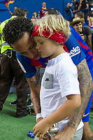 Neymar Santos Jr of FC Barcelona and his son during the match of  Copa del Rey (King's Cup) Final between Deportivo Alaves and FC Barcelona at Vicente Calderon Stadium in Madrid, May 27, 2017. Spain.. (ALTERPHOTOS/Rodrigo Jimenez) /NortePhoto.com