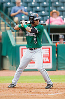 Alberto Robles (1) of the Augusta GreenJackets at bat against the Greensboro Grasshoppers at NewBridge Bank Park on August 11, 2013 in Greensboro, North Carolina.  The GreenJackets defeated the Grasshoppers 6-5 in game one of a double-header.  (Brian Westerholt/Four Seam Images)