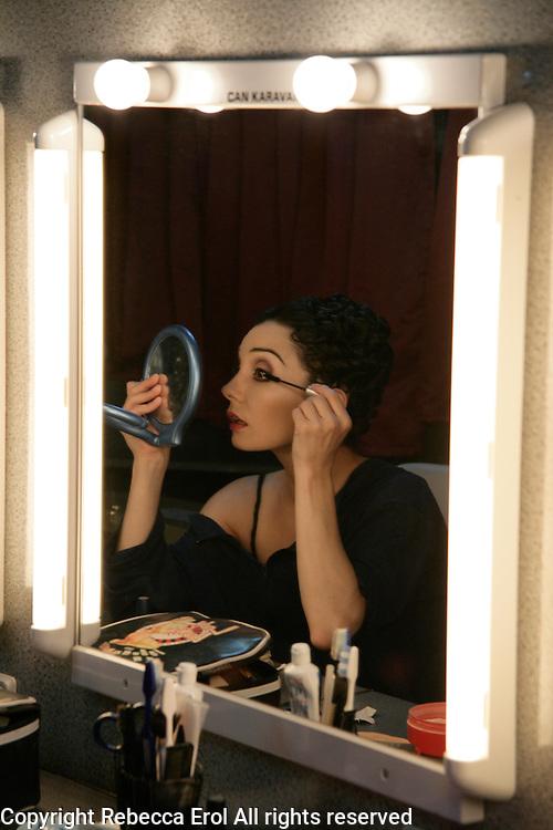 Royal Ballet dancer Tamara Rojo applies make up backstage for her role as Manon
