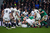 17th March 2018, Twickenham, London, England; NatWest Six Nations rugby, England versus Ireland; Garry Ringrose of Ireland is tackled by Dan Cole of England