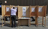 Ballot boxes and a flat-pack polling booth under test - Picture by Donald MacLeod - 04.05.11 - 07702 319 738 - www.donald-macleod.com - clanmacleod@btinternet.com