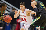 Wisconsin Badgers guard Bronson Koenig (24) plays defense during the fourth-round game in the NCAA college basketball tournament against the Baylor Bears Thursday, March 27, 2014 in Anaheim, California. The Badgers won 69-52. (Photo by David Stluka)
