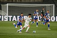 10th July 2020; Estadio Alfredo Di Stefano, Madrid, Spain; La Liga Football, Real Madrid versus Deportivo Alaves; Marco Asensio (Real Madrid)  breaks past Camarasa of Alaves