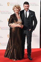 Elizabeth Estensen and Danny Miller<br /> at the 2016 BAFTA TV Awards, Royal Festival Hall, London<br /> <br /> <br /> &copy;Ash Knotek  D3115 8/05/2016